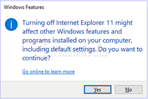 Mematikan (turn off) browser Internet Explorer di Windows 10