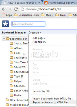 Backup atau export (ekspor) bookmark di Google Chrome