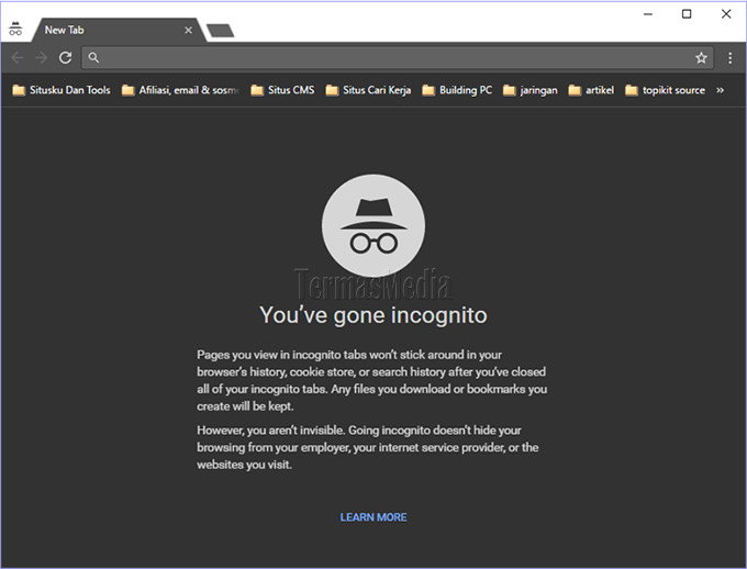Menggunakan mode Incognito di browser Google Chrome