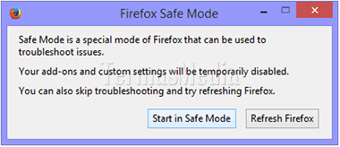 Menjalankan browser Firefox dalam mode aman (safe mode)
