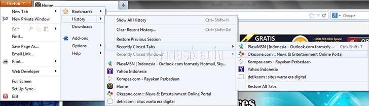 Membuka kembali tab browser yang tertutup tidak sengaja