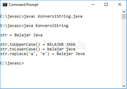 Metoda toUpperCase, toLowerCase dan replace kelas String di Java