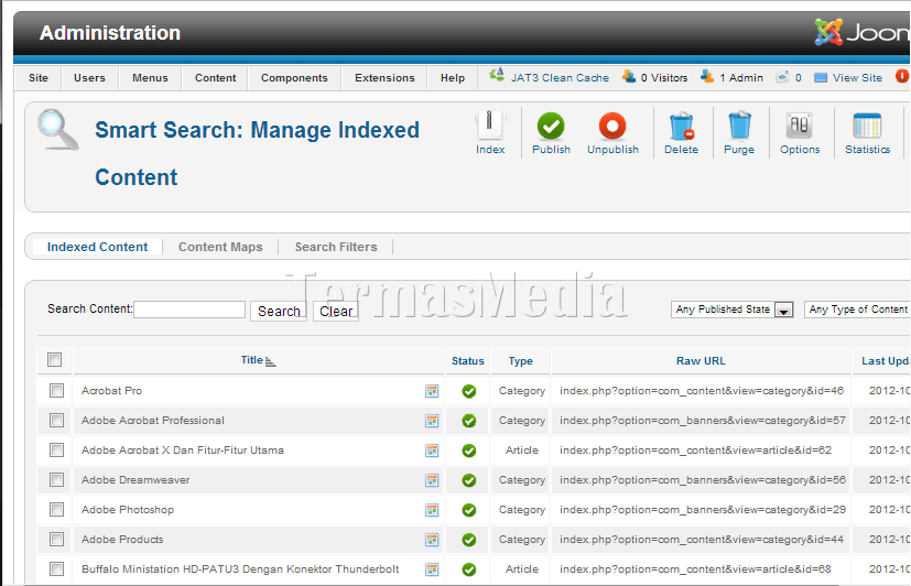 Mengaktifkan Smart Search di Joomla