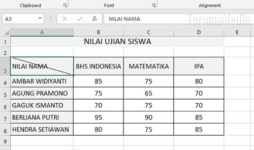 Cara Membuat Atau Menambahkan Garis Diagonal Di Sel Microsoft Excel