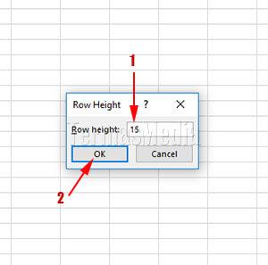 beberapa cara merubah tinggi baris di Microsoft Excel