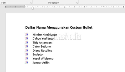 Membuat custom bullet di Microsoft Word