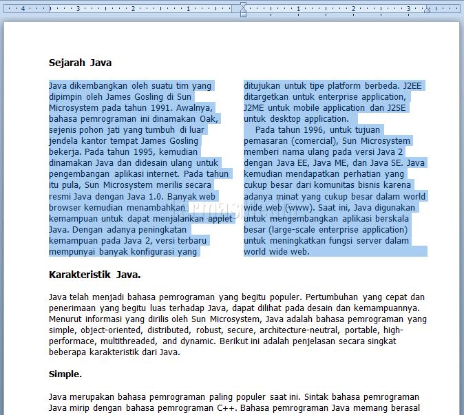 Membuat Kolom Koran (Newspaper Columns) Di Microsoft Word