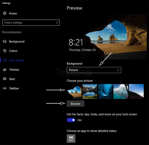 Merubah tampilan latar (background) dari lock screen di Windows 10