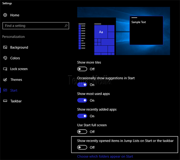 Menghapus tampilan daftar file dan folder (recent items list) di Windows 10