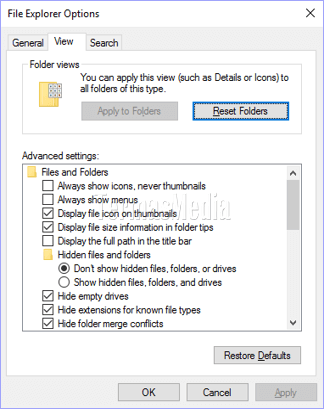 Membuka Folder Options atau File Explorer Option di Windows 10