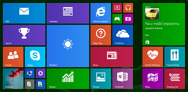 Tampilan live tiles di Microsoft Windows