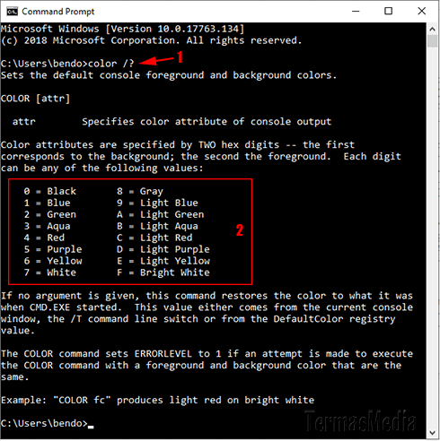 Merubah warna latar (background color) dan teks Command Prompt