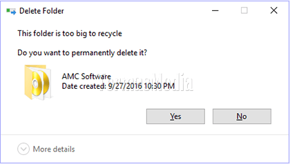 Merubah ukuran penyimpanan maksimum Recycle Bin di Windows 10