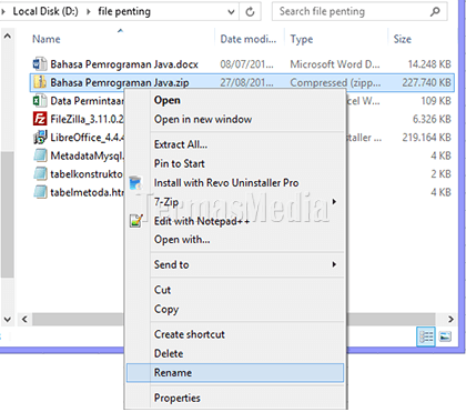 Mengkompresi (zip) dan mengekstrak (unzip) file-file di Windows