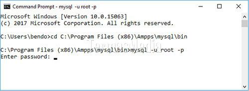 Pengaturan Untuk Menggunakan Database MySQL Di AMPPS Melalui Command